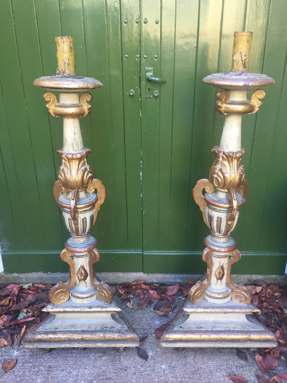 Large pair of c18th giltwood decorated baroque style altar type candle holders of impressive proportions 512179 www leesantiquesworcester com