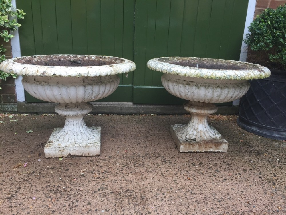 large pair of mid c19th castiron terrace or garden vases of campana form