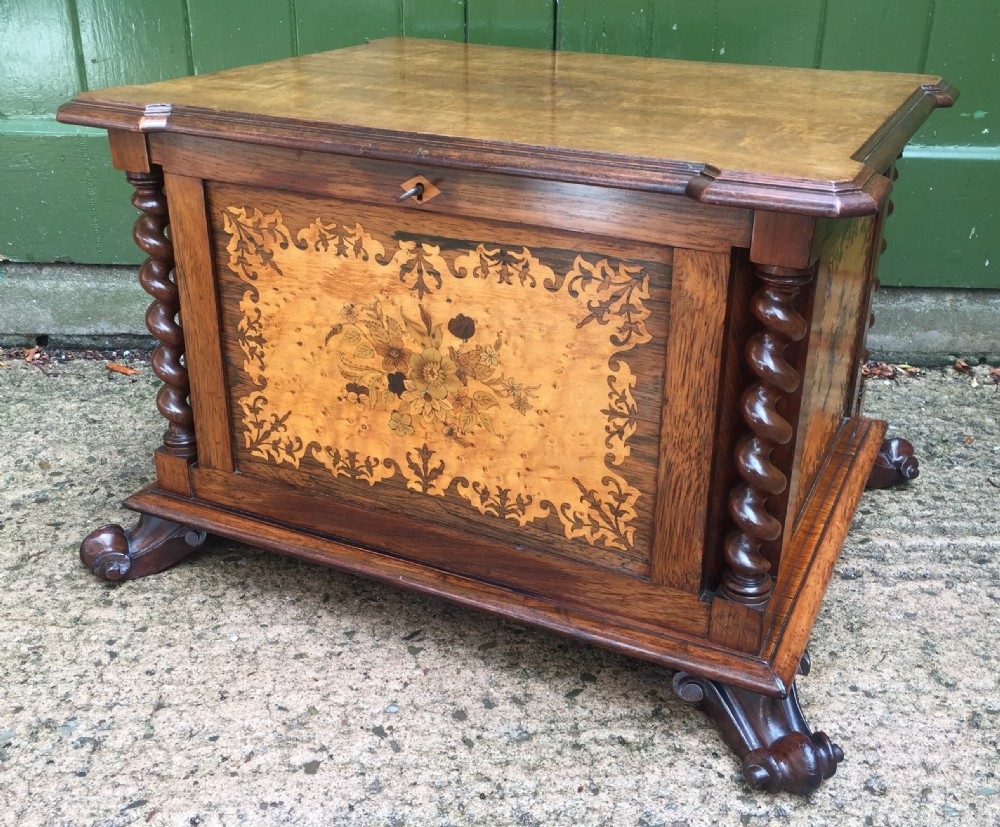 superior quality c19th rosewood mahogany walnut and marquetry inlaid casket