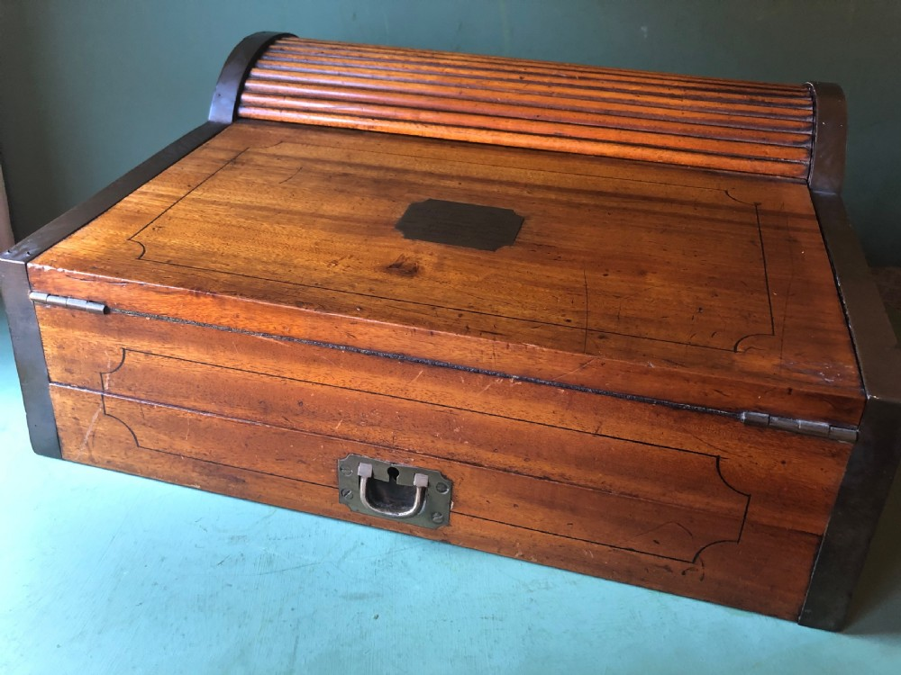 c19th chinese export trade camphor wood brassbound military campaign writing box
